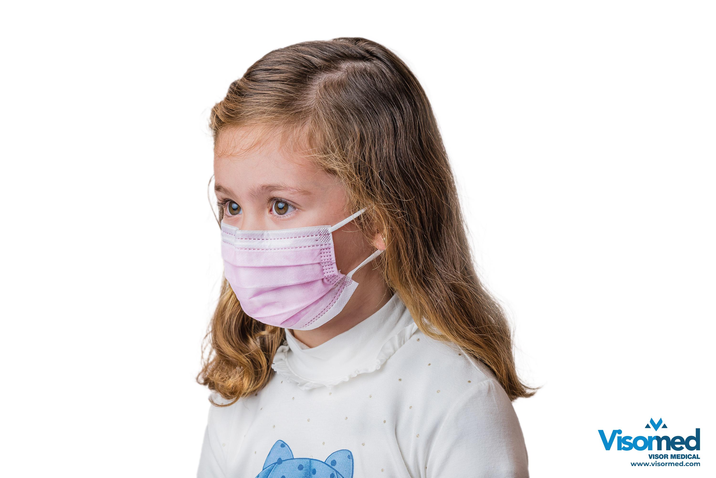Mascarillas quirúrgicas infantiles tipo IIR color rosa - 100 uds