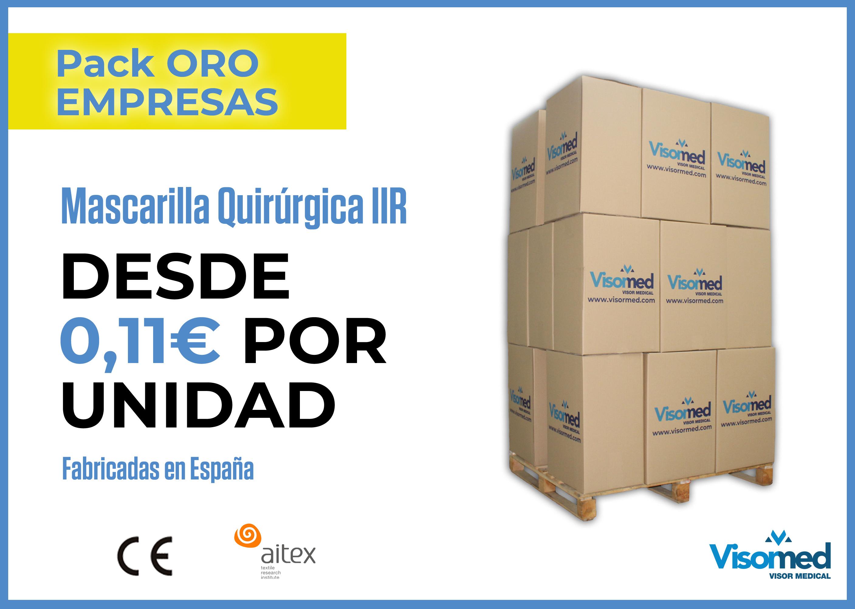 Packs 'Oro' Empresas - Mascarillas Quirúrgicas IIR - 1.800 uds.